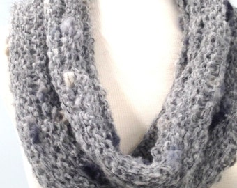 Gray Tweed Look Cowl, Knitted Neck Warmer, Soft Lightweight Hand Knit Circle Scarf