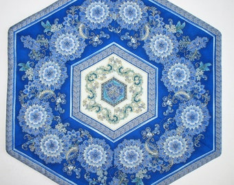Floral Table Topper, Hexagon, blues, quilted