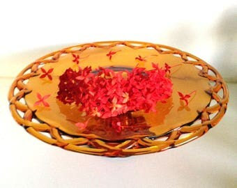 Vintage Old Colony Open Lace Edge Amber Cake Pedestal Stand/Display