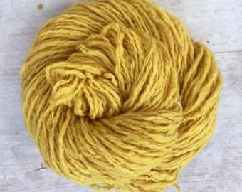 Natural Dyed Handspun 2-Ply Yarn in Mustard Yellow