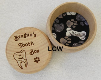 Dog Tooth Fairy Box Natural Wood Custom Personalized or Sealed Wood