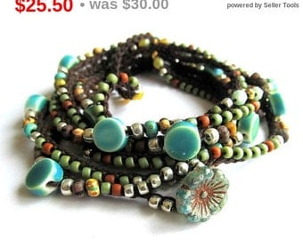 "Holiday Sale! Crochet boho wrap bracelet / necklace, beaded, ""Lola"", fall fashion, boho jewelry, crochet jewelry, coffycrochet, gift for ..."