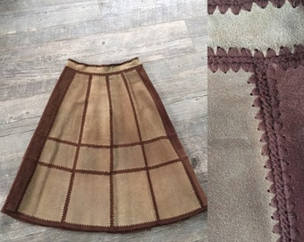 VINTAGE 70s Brown Suede Leather A-Line BoHo Hippie Festival Skirt