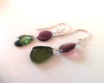 Rubellite Tourmaline Natural Gemstone Slices Handmade Earrings on Sterling Silver