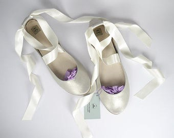 Ballet Flats Shoes in Silver Leather With Satin Ribbons Bridal Handmade Ballerinas - Reserved for Jenny
