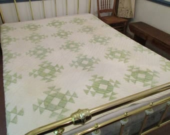 Patchwork Quilt for Repurposing - Cutter Quilt - Handmade and Hand Quilting - 78 X 80 - Vintage - Green and White - Free Shipping - NC