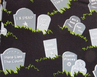Henry Glass - Fangtastic With Glow by First Blush Studio - Glow In The Dark - Grave Stones Black 1099G - Halloween Fabric