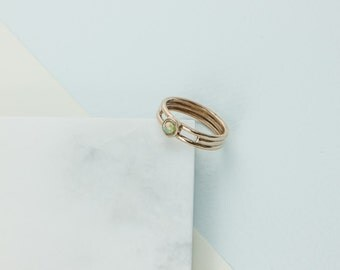 Opal and Bronze Single Bezel Tiny Dancer Ring