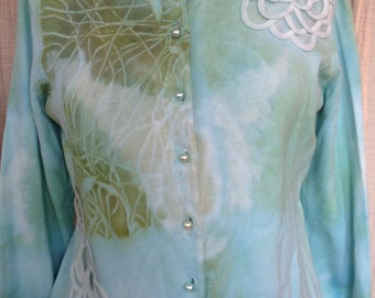 Embellished ribbon art tie dye boho chic cardigan medium large cotton silk pearl buttons mother of the bride
