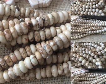 Natural White Magnesite Turquoise Beads 6mm, 8mm, 10mm, and rondel