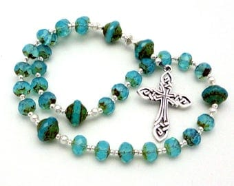 Anglican Rosary / Protestant Prayer Beads with Czech Picasso Glass Beads and Sterling Silver Celtic Knotwork Cross