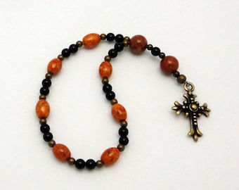 PIF: Anglican Prayer Beads One-Week Chaplet in Brown Riverstone with TierraCast Pewter Fleur Cross