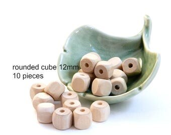 Natural Wood Rounded Cube Beads - 12 x 12mm - 10 pieces