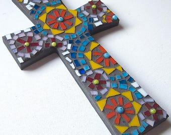 Cross, Wall Hanging, Mosaic Art, Love, Wedding, Gift,  Home Decor, Original Art, Christian