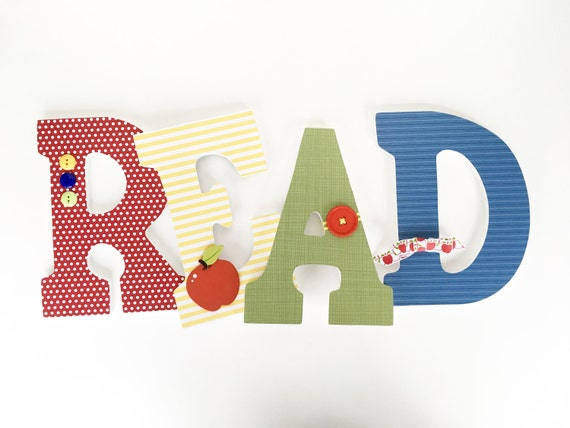 Read Custom Wooden Letters, Nursery Décor, Unisex Bedroom, Hanging Wood Wall Decorations, Baby Shower Gift, Classroom Library School