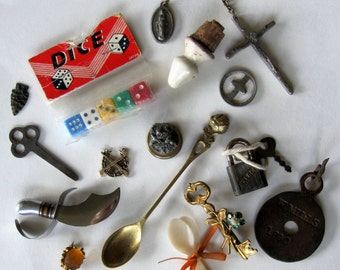 Lot of Misc. Destash Vintage Antique Jewelry, Charms, Findings Religious Novelty Antique ~ Mixed Media Collage
