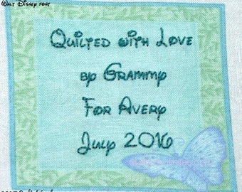 Quilt Label - Turquoise Butterfly With Green Frame, Custom Made & Hand Embroidered