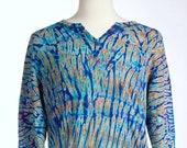 L Y-Neck Shibori Men's Unisex LongSleeve T Shirt Zircon Deep Tie Dye