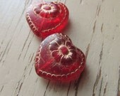 Victorian Heart Beads 17mm Matte Transparent Red with Gold Inlay Czech Glass