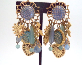 Reminiscence Paris 1980s Bold Dangling Clip Earrings