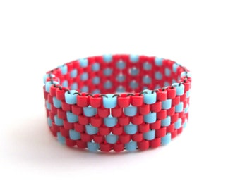 Polka Dot Red and Blue Ring, Beaded Peyote Ring - Makes a Great Thumb Ring for Men or Women