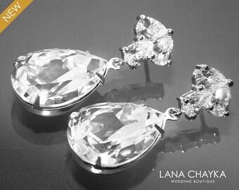 Crystal Bridal Earrings Clear Crystal Teardrop Earrings Swarovski Crystal Rhinestone Earrings Sparkly CZ Crystal Earrings Wedding Earrings