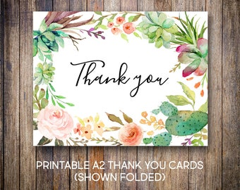 Succulent Thank You Cards, Watercolor Thank You Notes, Baptism Thank You, Green, Pink, Teal, Orange, Digital Download, Printable Cards, 701