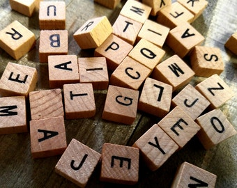 Wooden Letter Tiles Wooden Tiles Alphabet Tiles Wood Letter Tiles Letter Squares Uppercase Letter Tiles 40 piecese