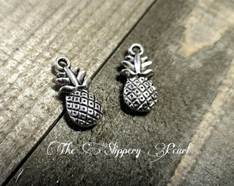 Pineapple Charms Fruit Charms Silver Pineapple Charms Silver Fruit Charm Antiqued Silver Charms Lucky Pineapple Double Sided 10 pieces 19mm