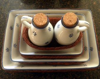9 piece, vintage Ceramic and Basket Italian Kitchen Set, blue n' white,