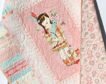 Baby Quilt, Dream Catchers, Reversible, Girl Bedding, Nursery Decor, Pink Coral Blue, Indian Girl Feathers Arrows Tribal Aztec, Baby Bedding