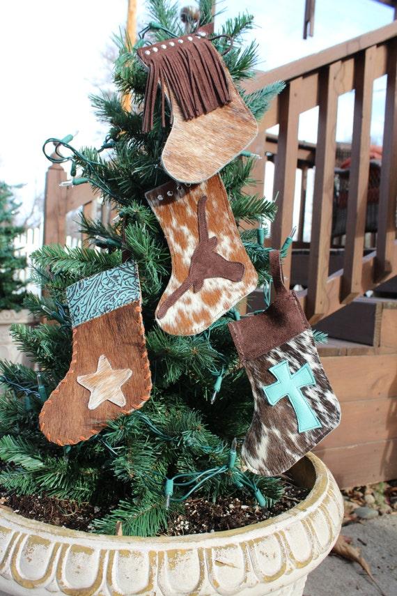 Cowhide Christmas Stockings