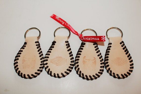 Hand stamped and laced leather key ring