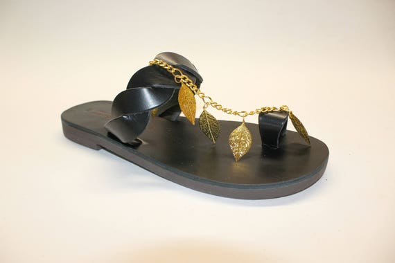 Black slides size 37 U.S 6.5 SALE leather sandals greek sandals