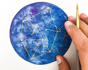 Winter Constellation. Original Watercolor Art. Hand Painting gift. Birthday or House Warming Gift. Blue and gold art. Gift under 40.