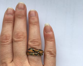 Unusual Vintage Plastic Snake Ring Art Deco