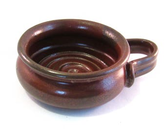 Shaving Bowl - Red Shave Mug - Handmade Pottery - Pottersong - Comfort Shave - Ridges for Good Soap Lather - Glazed Rust Red - Gift for Him