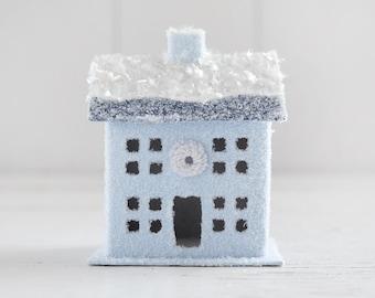 Retro Putz House - Ice Blue Vintage Style House Christmas Decoration