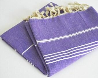 SALE 50 OFF/ Turkish Beach Bath Towel / Classic Peshtemal / Purple / Wedding Gift, Spa, Swim, Pool Towels and Pareo