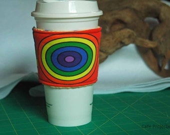 Simple Polar Coordinates Rainbow - Coffee Sleeve #8