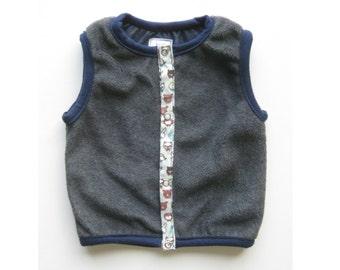 Baby Boy Vest, Reversible Fleece Vest in Grey and Blue, Baby Clothing