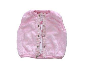 Pink Faux Fur baby girl vest, Reversible
