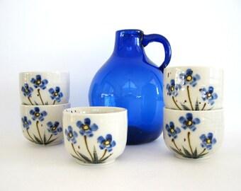 Vintage Stoneware Tea Cup Set Cobalt Blue Floral Forget Me Not Flower Candle Votive Holder Rustic Pottery Sake Cups Japanese Ceramic Otagiri
