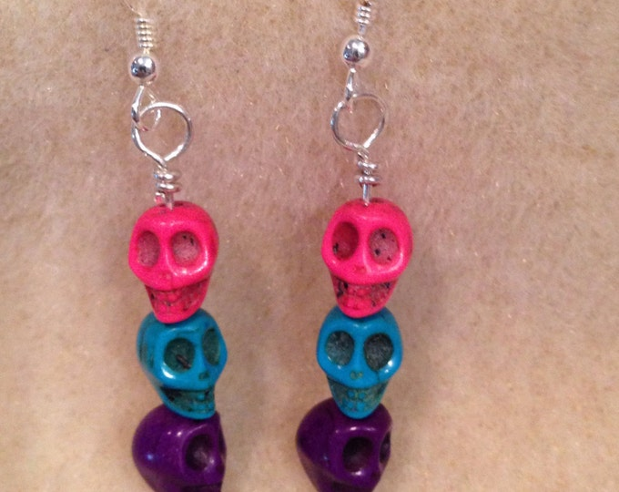 Candy Color Skull Sterling Silver Dangle Drop Earrings - Pretty Día de Muertos Sugar Skull Earrings