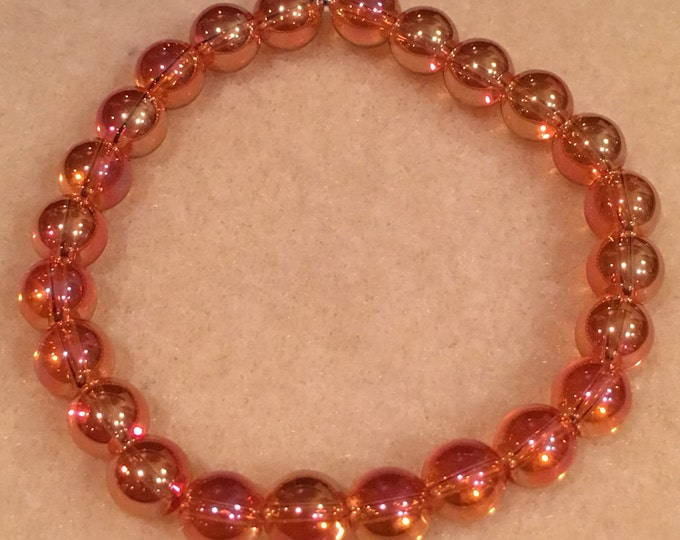 Tangerine Aura Quartz 8mm Round Stretch Bead Bracelet with Sterling Silver Accent