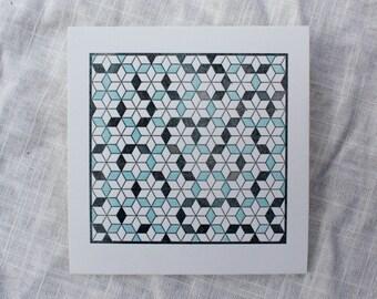 Geometric Quilt Letterpress Card
