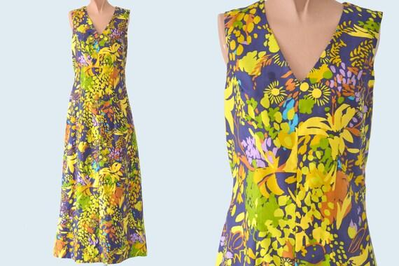 1960s Summer Garden Print Handmade Maxi Dress size S/M
