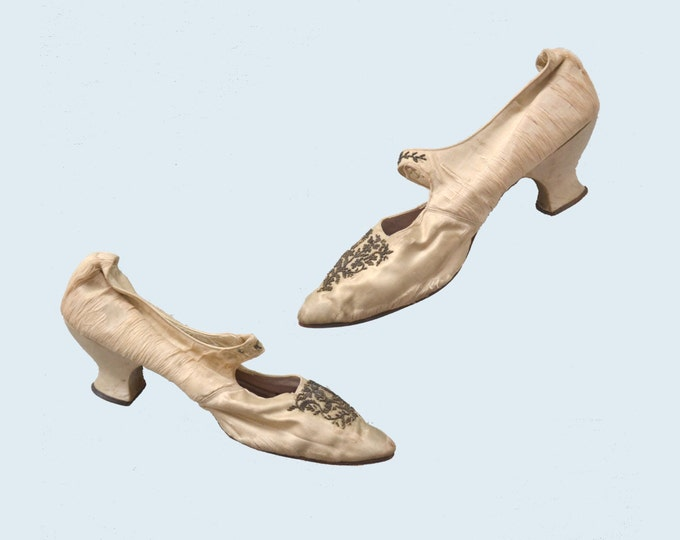 Victorian Cream Silk Wedding Shoes