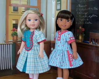 "Wellie Wisher ® Size PDF Sewing Pattern: Wellie School Days / Sewing Pattern for American Girl  Wellie Wishers® or other 14"" doll"