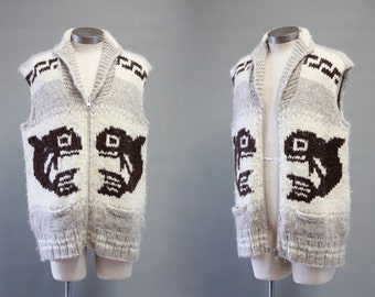 WHALE OF A TIME Vintage 70s Sweater Vest | 1970's Genuine Indian Cowichan | Hand Spun Wool | Canadian Native American, Boho, Hippie | Large